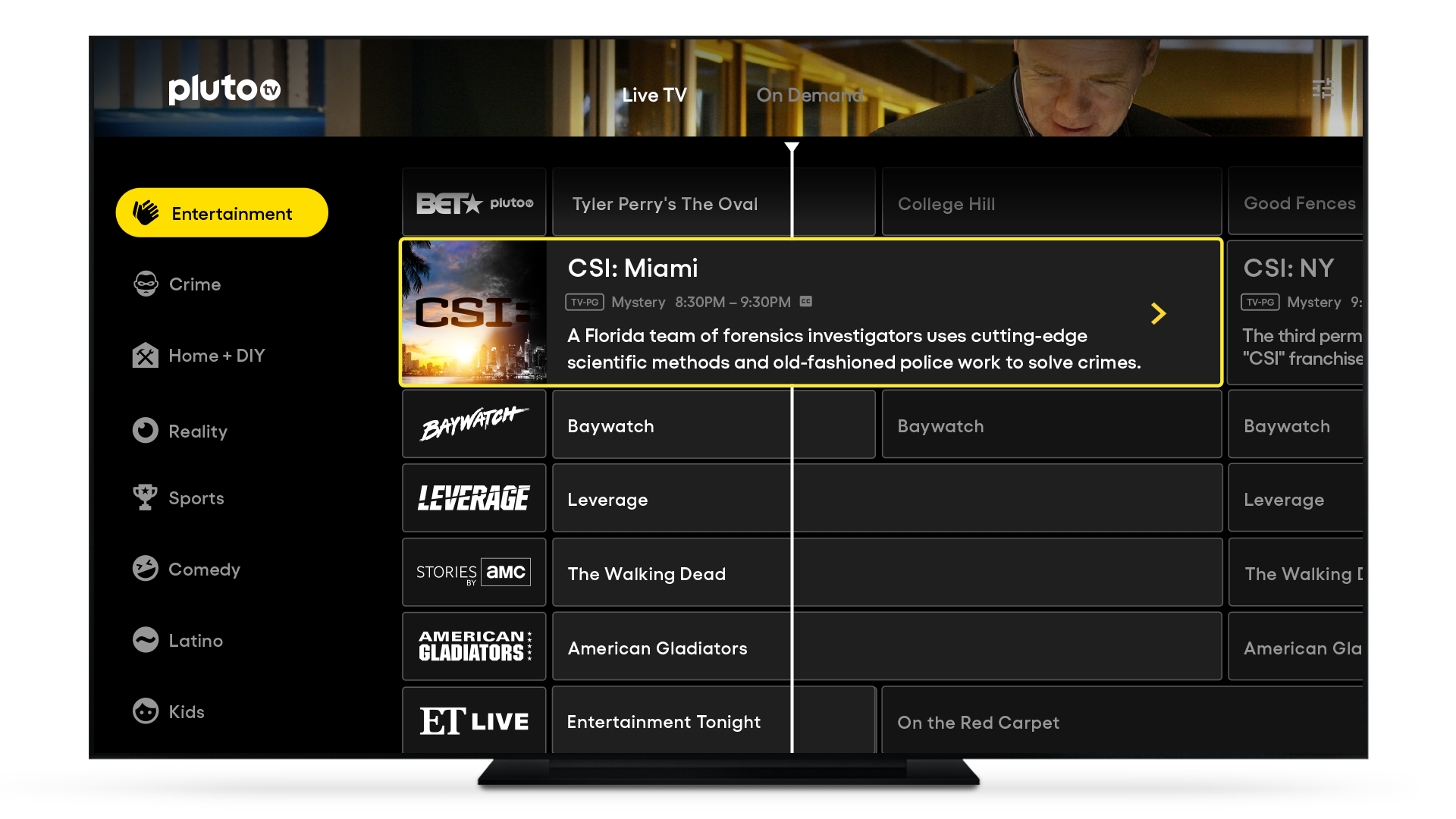 100+ Channels of free live TV 24/7